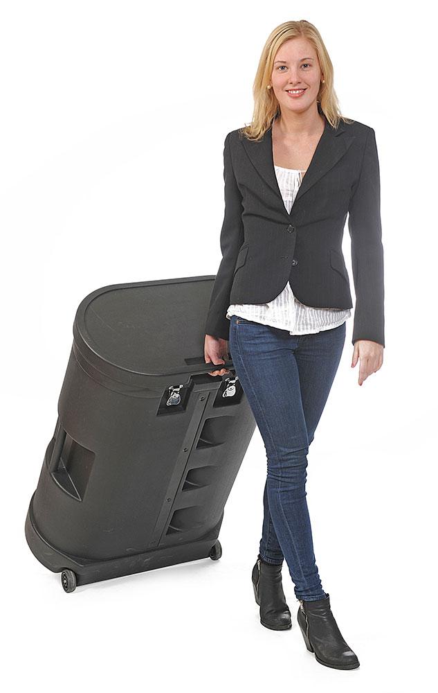 Transportkoffert og disk i ett