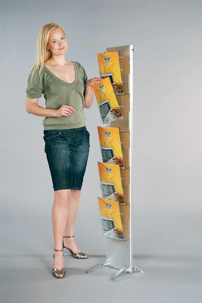 Fleksibelt brosjyrestativ for gulv